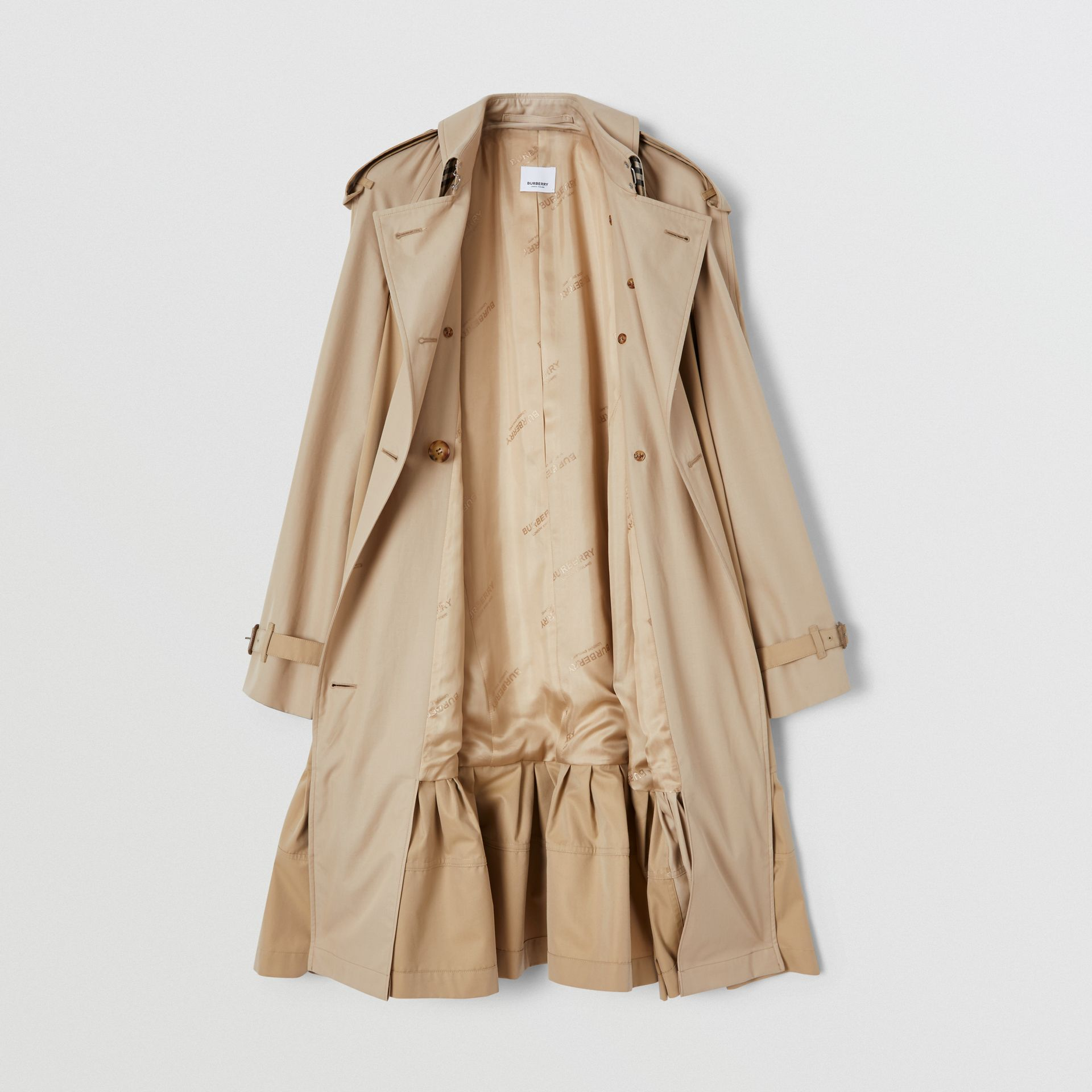 Gathered Detail Cotton Gabardine Trench Coat in Light Sand - Women | Burberry - gallery image 6