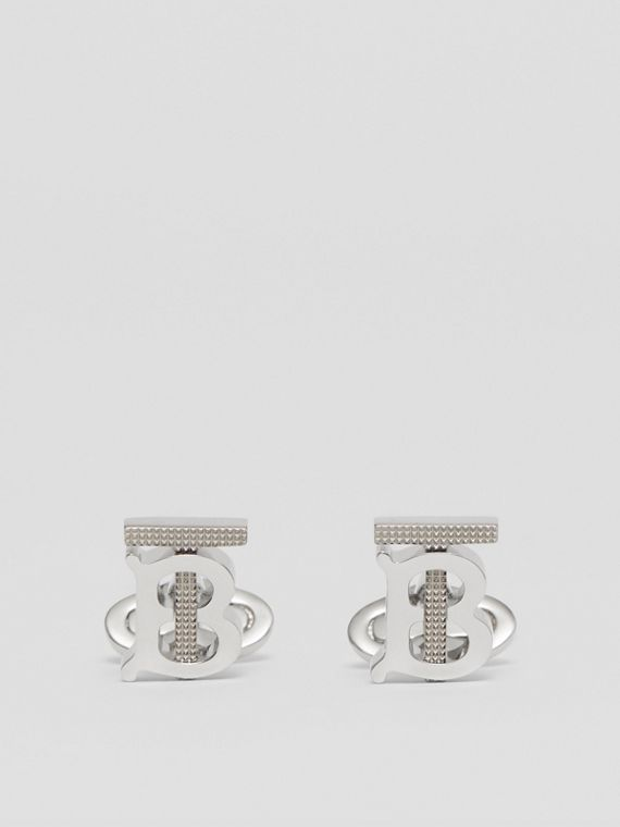Studded Monogram Motif Palladium-plated Cufflinks