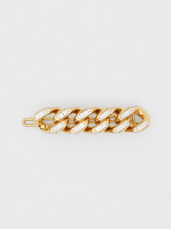 Barrette à maillons plaquée or avec cristaux (Clair)