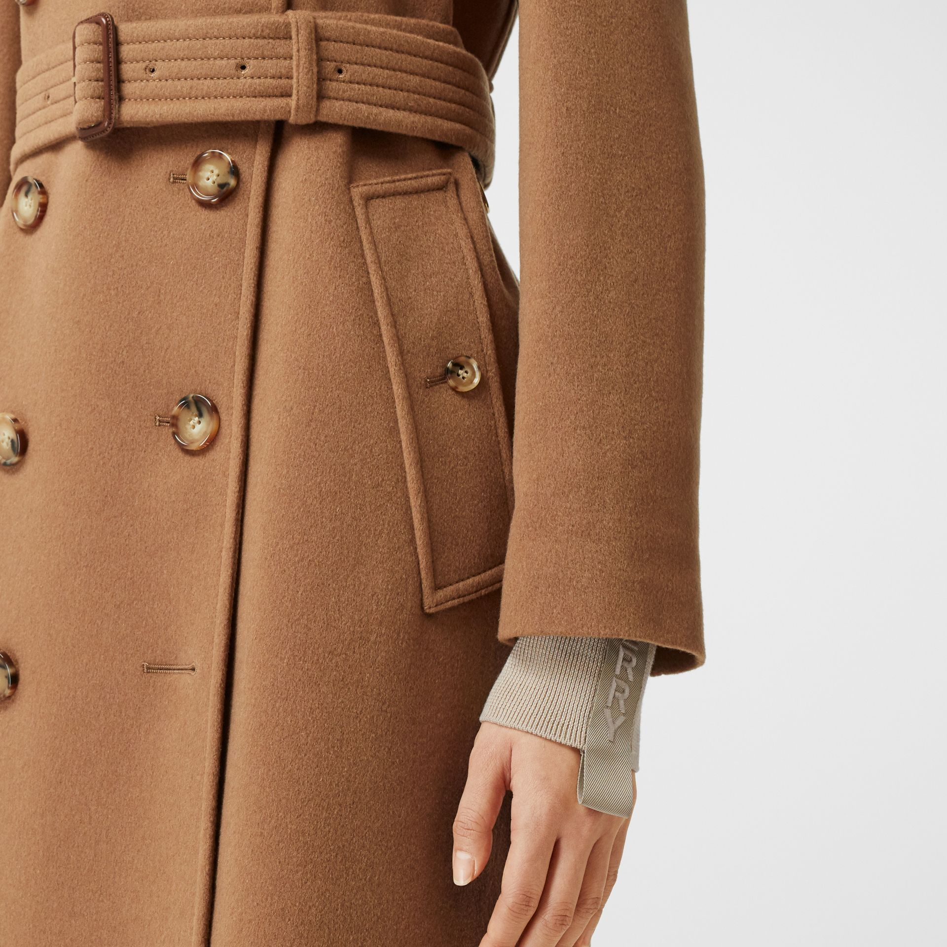 Regenerated Cashmere Trench Coat in Bronze - Women | Burberry - gallery image 4