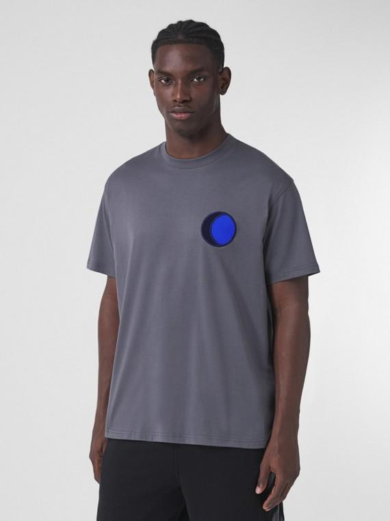 Badge Appliqué Cotton Oversized T-shirt in Tempest Grey