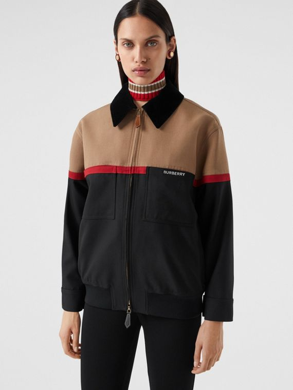 Veste Harrington en laine color-block (Biscuit)