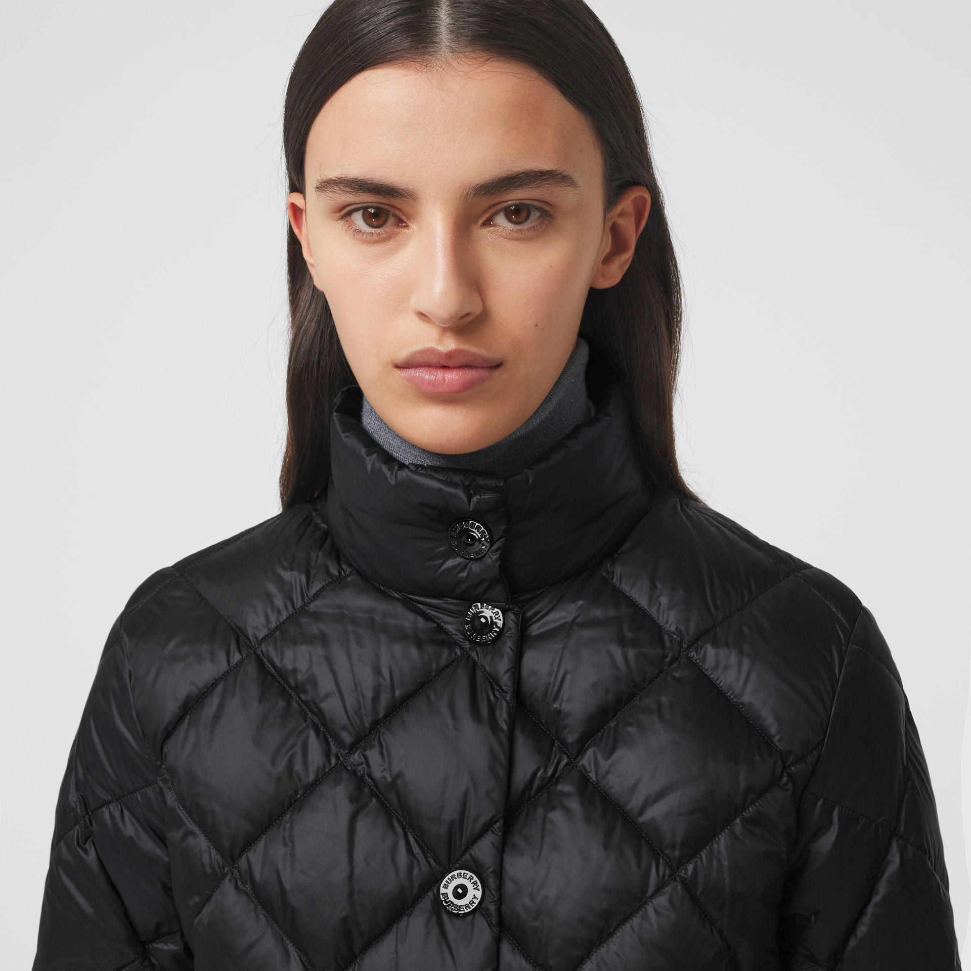 Diamond Quilted Down-filled Jacket in Black - Women | Burberry - gallery image 1