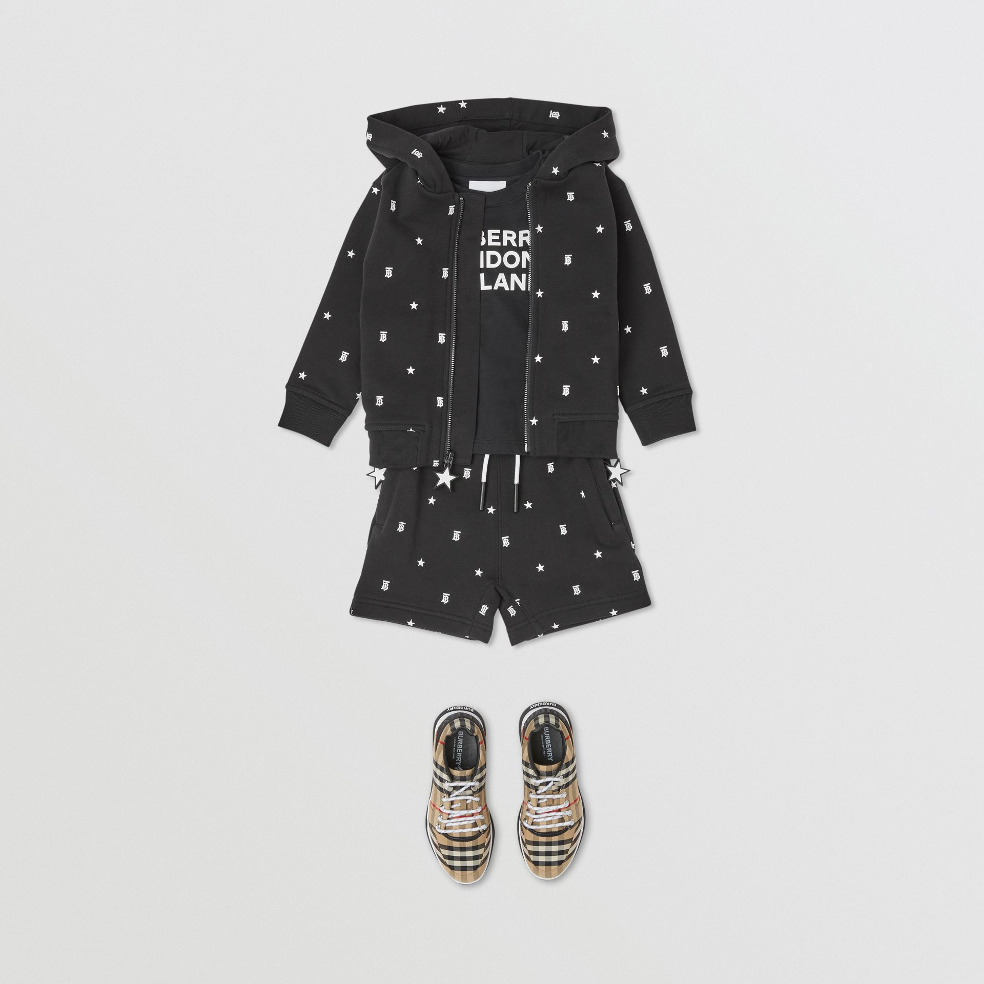 Star and Monogram Motif Cotton Shorts in Black - Children | Burberry - gallery image 3