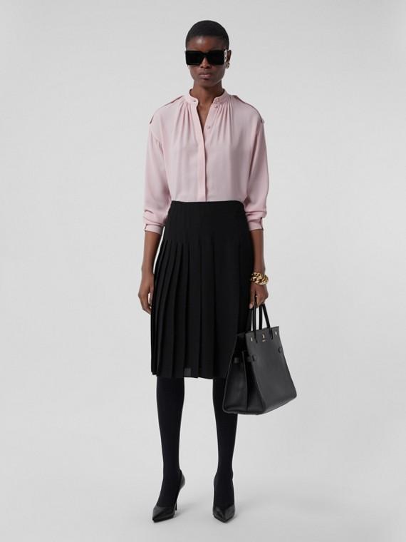 Pleated Silk Georgette Skirt in Black