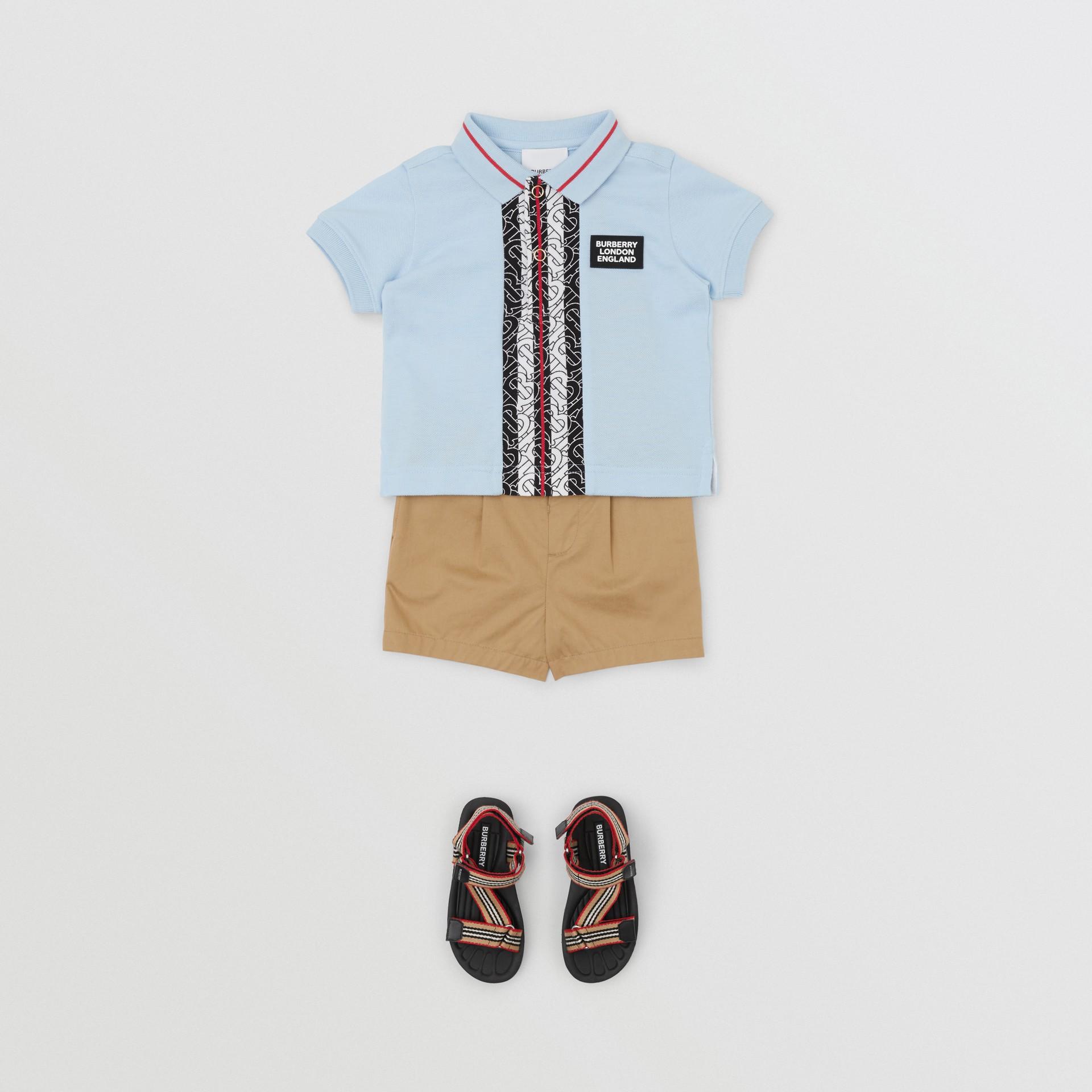 Monogram Stripe Print Cotton Piqué Polo Shirt in Pale Blue - Children | Burberry Hong Kong S.A.R - gallery image 2