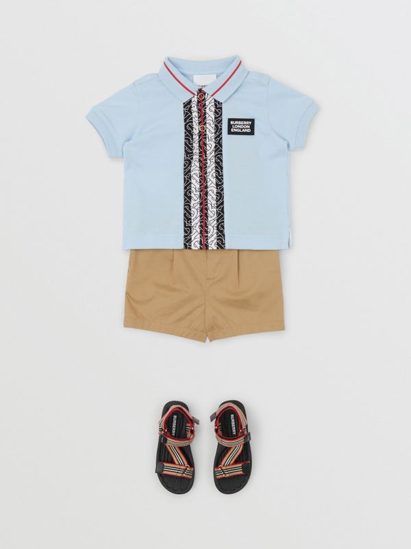 Monogram Stripe Print Cotton Piqué Polo Shirt in Pale Blue - Children | Burberry - cell image 2