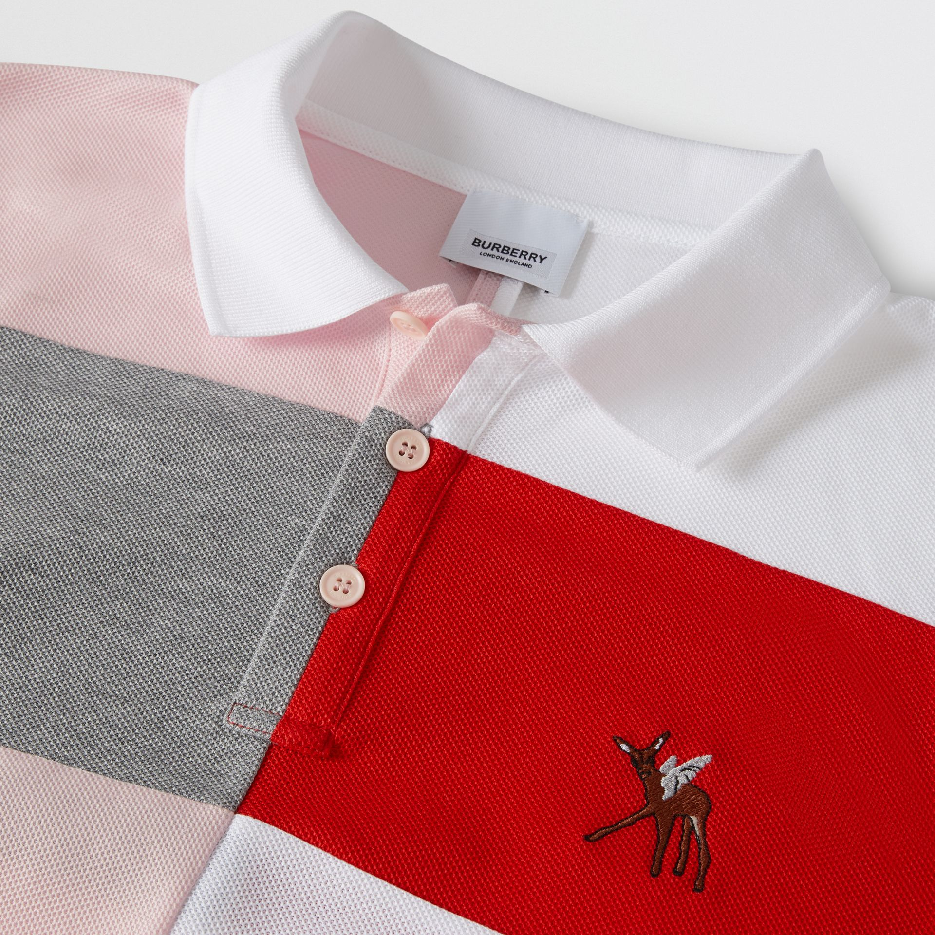 Deer Motif Colour Block Oversized Polo Shirt – Online Exclusive in Alabaster Pink - Men | Burberry - gallery image 7