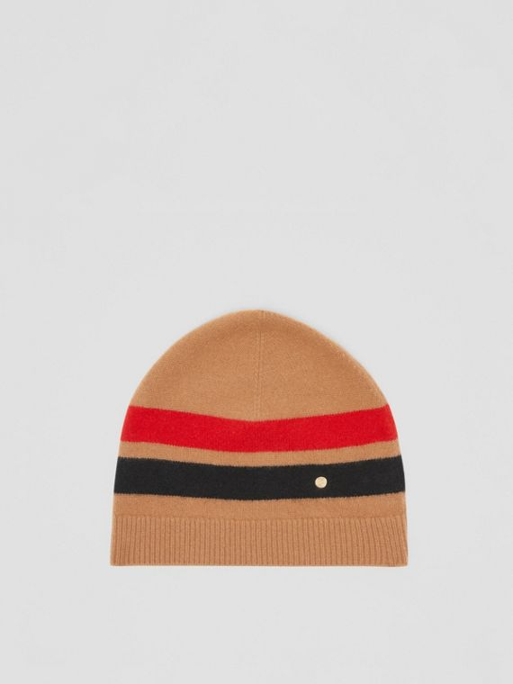 Monogram Motif Merino Wool Cashmere Beanie in Warm Camel