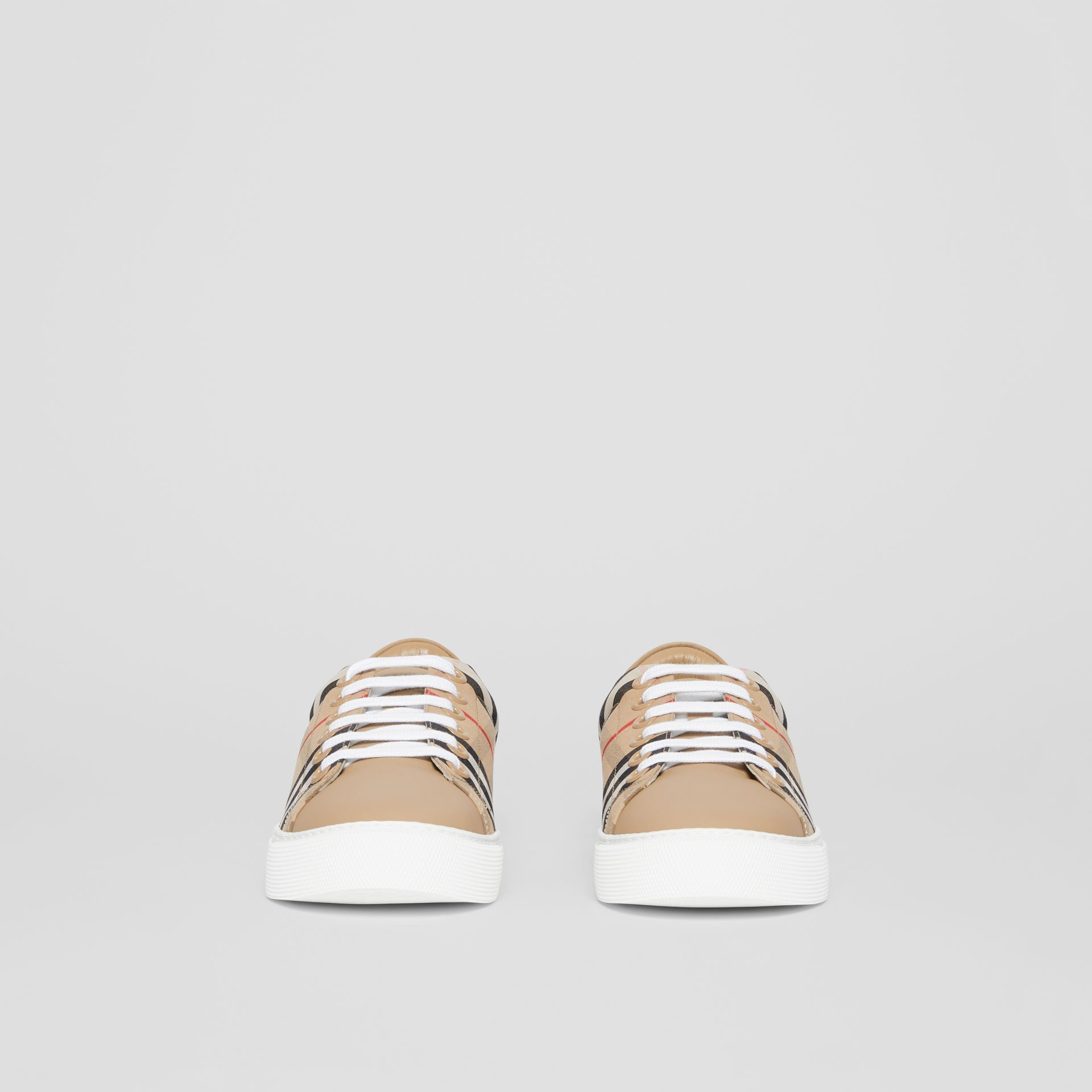 Vintage Check and Leather Sneakers in Archive Beige - Women | Burberry United Kingdom - gallery image 3