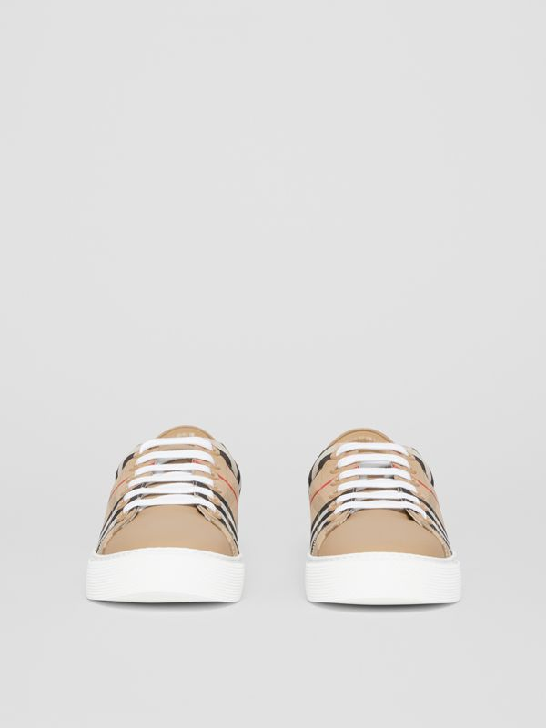 Vintage Check and Leather Sneakers in Archive Beige - Women | Burberry United Kingdom - cell image 3