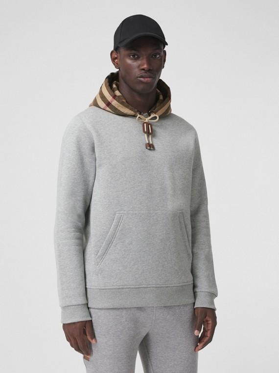 Check Hood Cotton Blend Hoodie in Pale Grey Melange