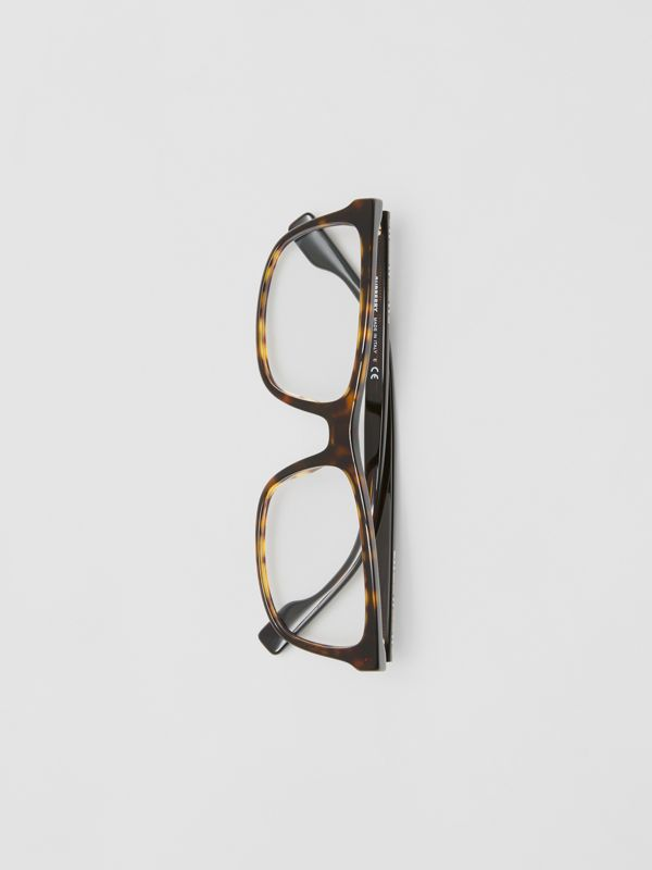 Icon Stripe Detail Rectangular Optical Frames in Tortoiseshell - Men | Burberry - cell image 3