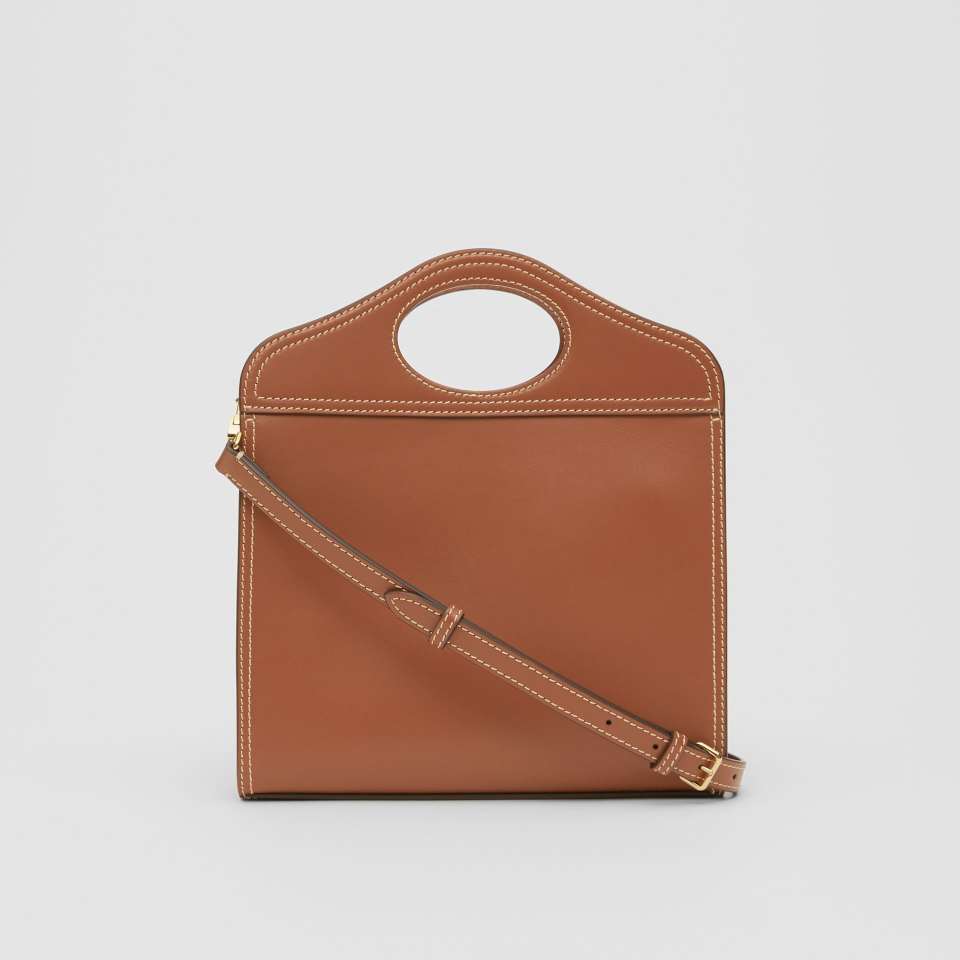 Medium Topstitch Detail Leather Pocket Bag in Malt Brown - Women | Burberry - gallery image 5