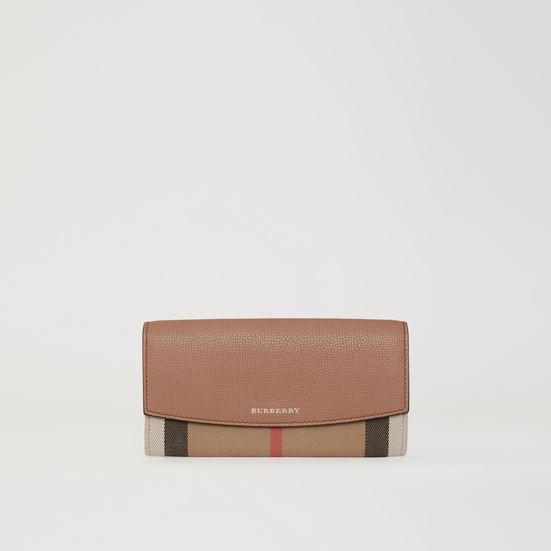 House Check and Leather Continental Wallet in Dark Sand - Women | Burberry - gallery image 0