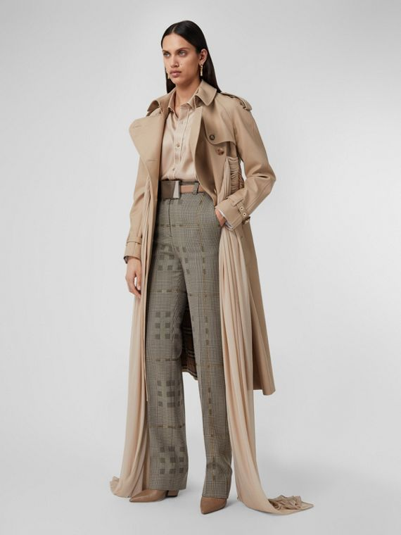Check Wool Jacquard Tailored Trousers in Brown