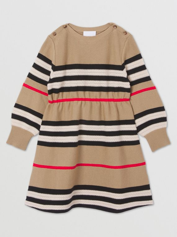 Langärmeliges Woll-Kaschmir-Kleid im Streifendesign (Vintage-beige)