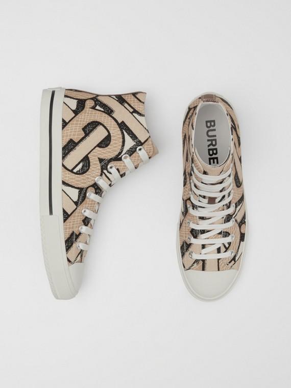 Monogram Print Cotton Canvas High-top Sneakers in Dark Beige