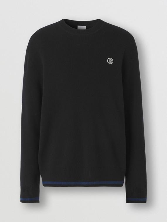 Monogram Motif Cashmere Cotton Sweater in Black
