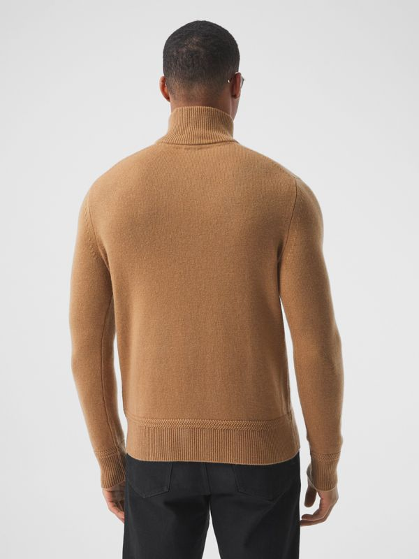 Monogram Motif Cashmere Funnel Neck Sweater in Camel - Men | Burberry - cell image 2
