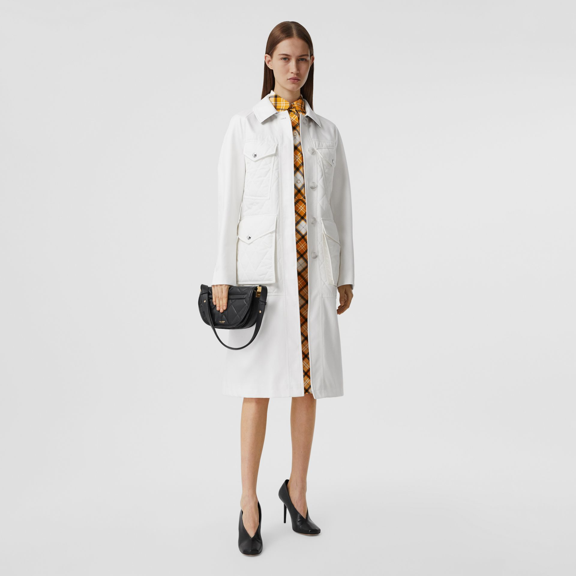 Diamond Quilted Panel Cotton Gabardine Car Coat in Natural White - Women | Burberry - gallery image 0