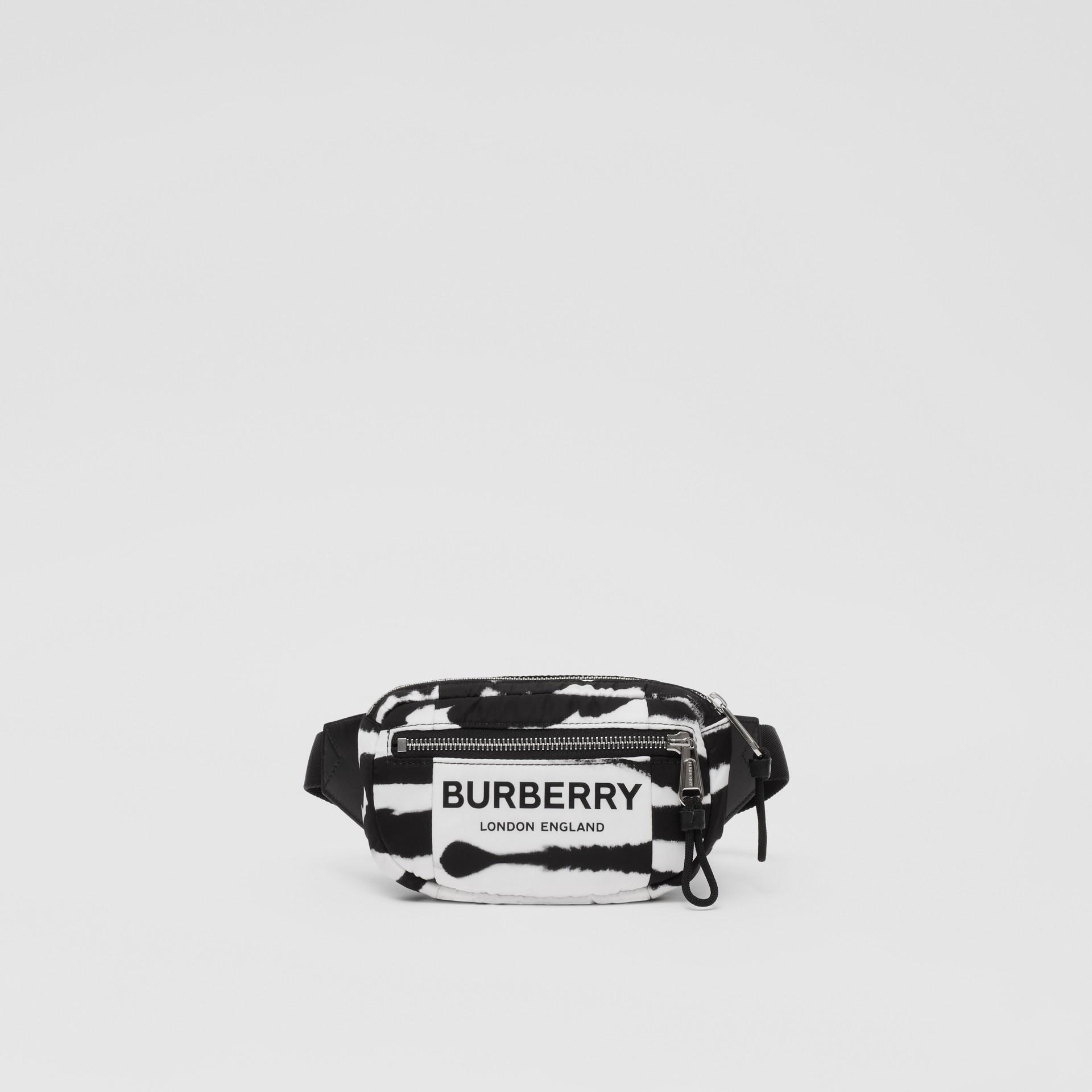 Small Watercolour Print ECONYL® Cannon Bum Bag in Black/white - Men   Burberry - gallery image 0