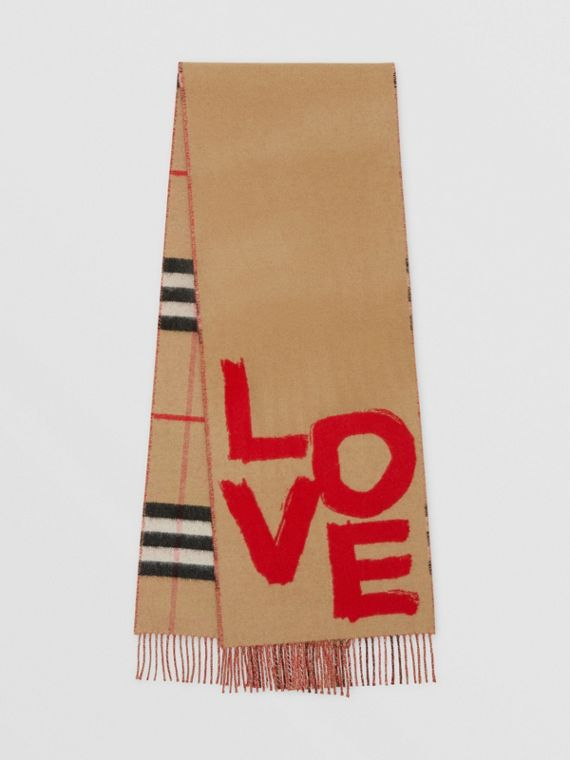 Love and Check Wool Silk Jacquard Scarf in Archive Beige