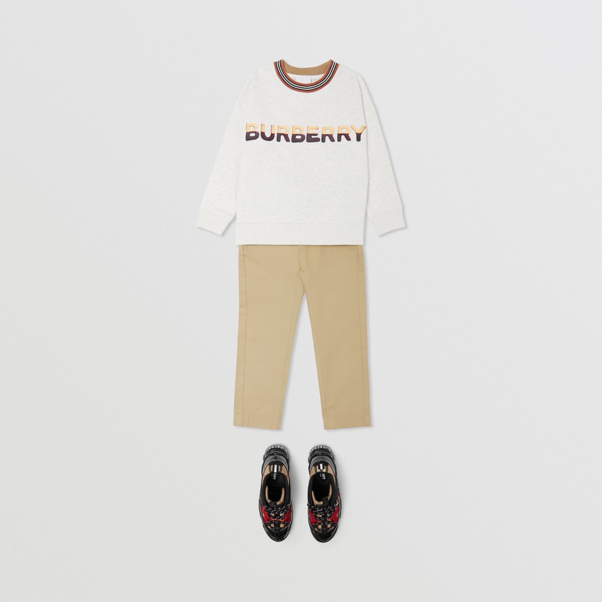 Confectionery Logo Print Cotton Sweatshirt in White Melange | Burberry - gallery image 2