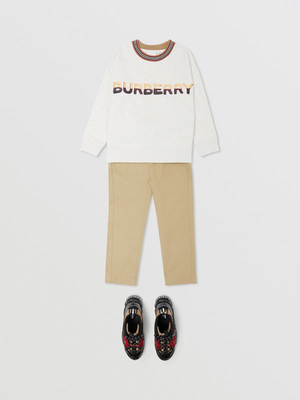 Confectionery Logo Print Cotton Sweatshirt in White Melange | Burberry - cell image 2