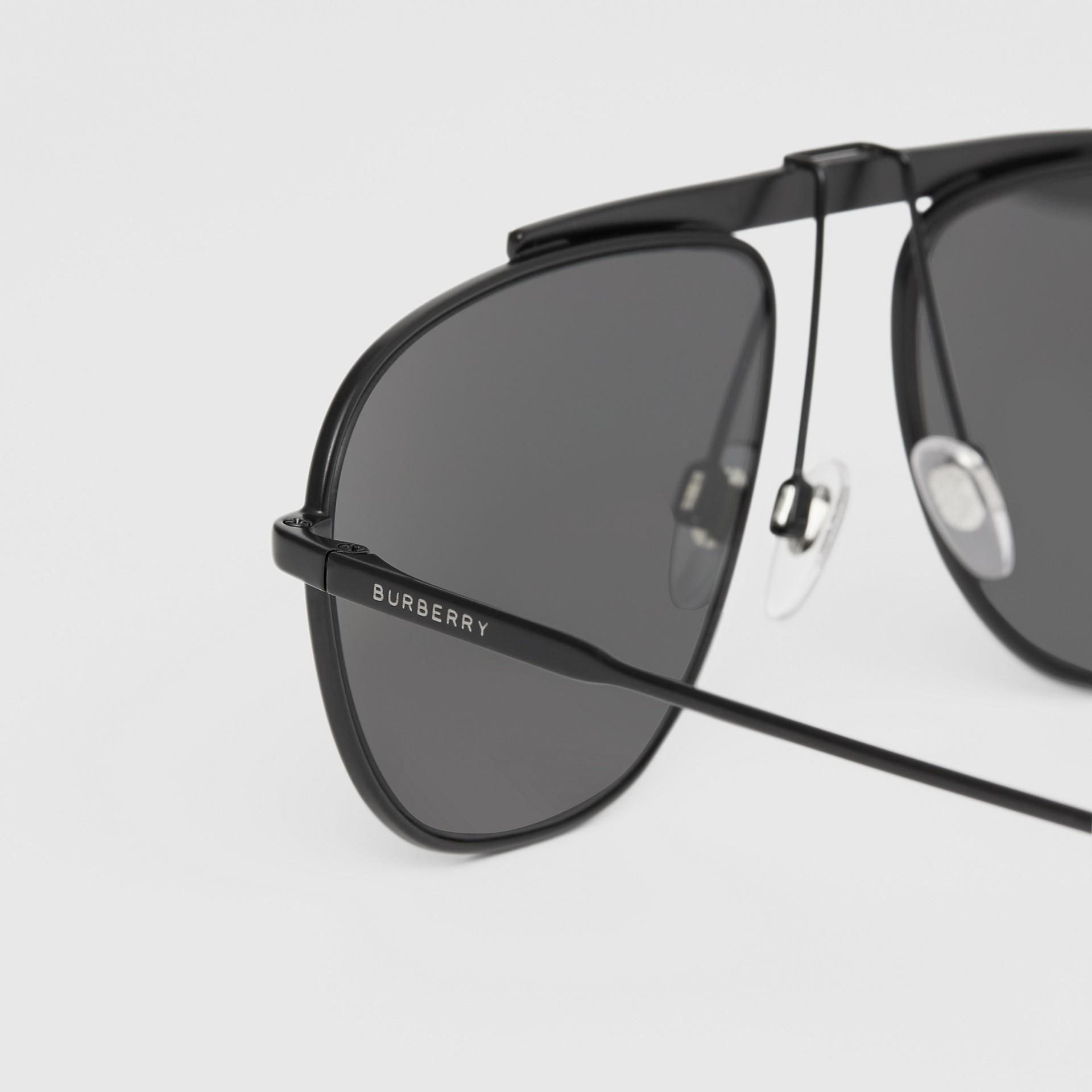 Pilot Sunglasses in Matte Black - Men | Burberry - gallery image 1