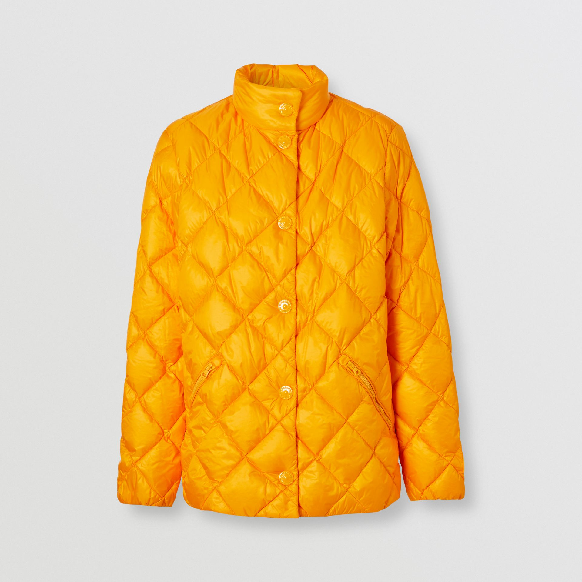 Diamond Quilted Down-filled Jacket in Citrus Orange - Women | Burberry - gallery image 3