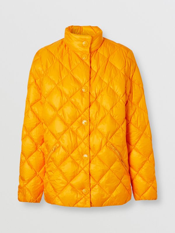 Diamond Quilted Down-filled Jacket in Citrus Orange - Women | Burberry - cell image 3