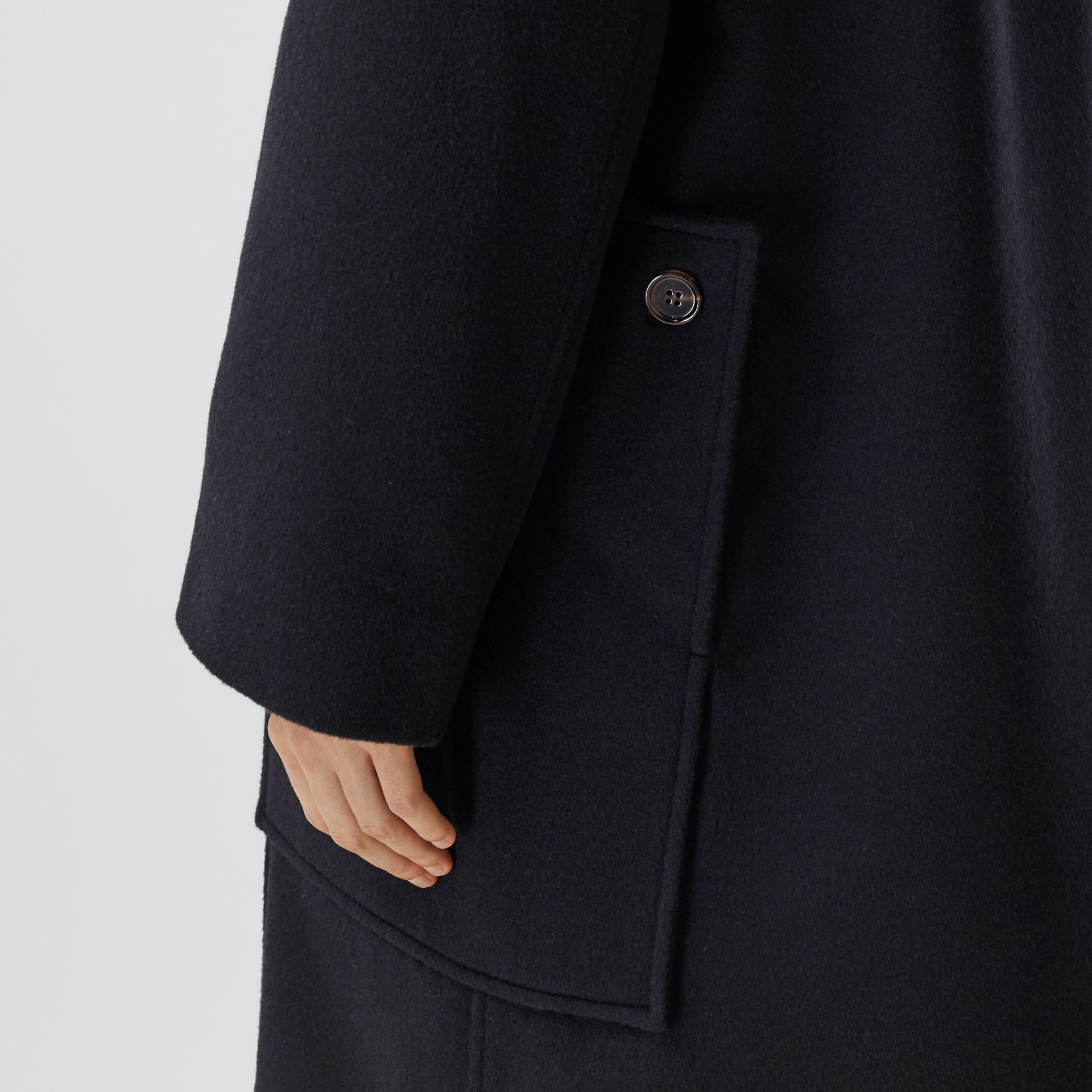 Pocket Detail Cashmere Pea Coat in Navy - Women | Burberry - gallery image 5