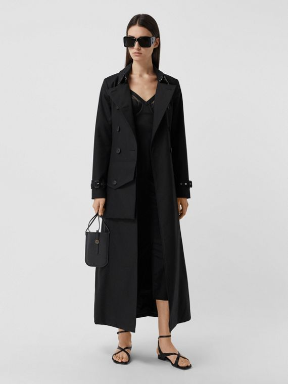 Pocket Detail Cotton Gabardine Trench Coat in Black