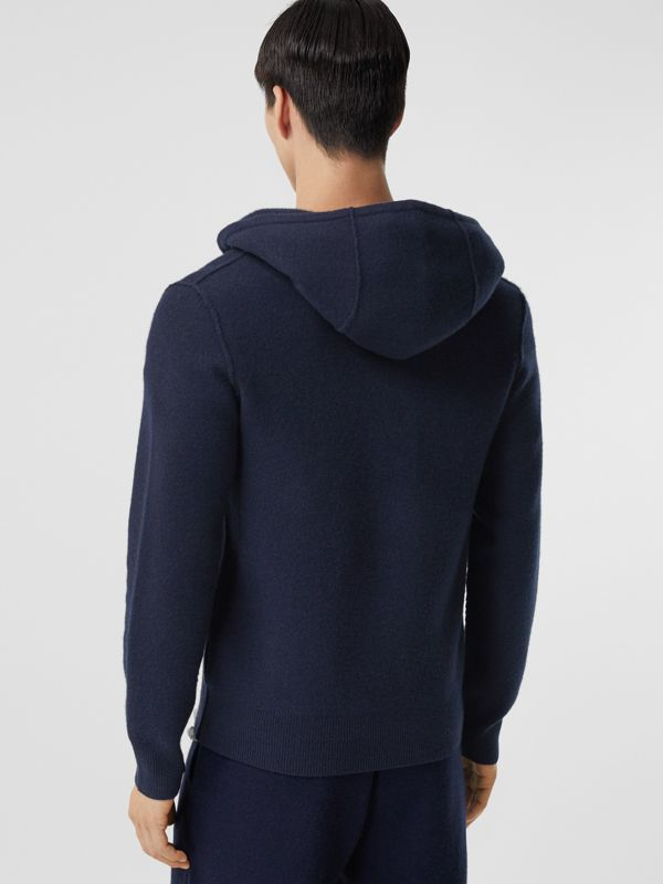 Monogram Motif Cashmere Blend Hooded Top in Navy - Men | Burberry - cell image 2