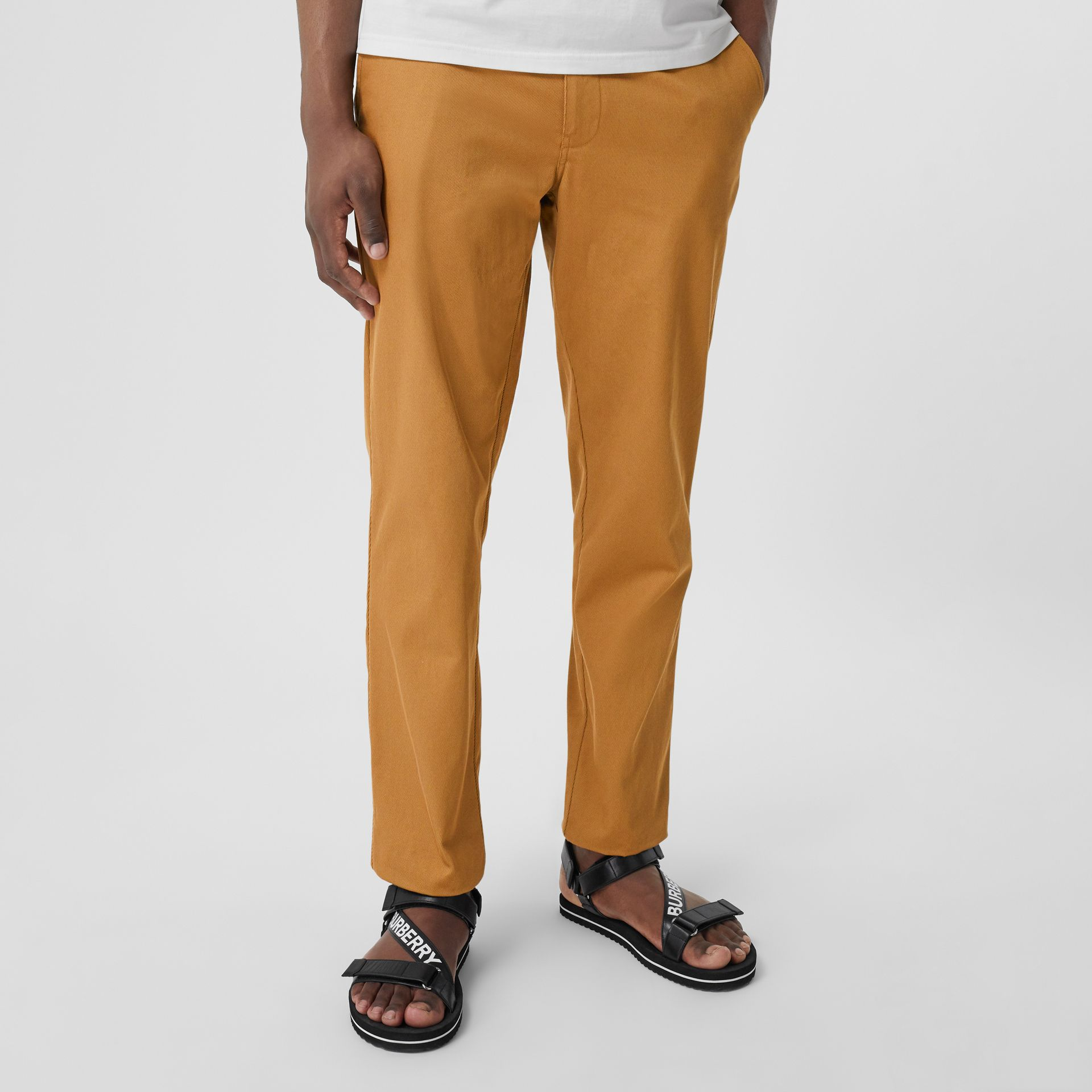 Straight Fit Logo Detail Cotton Chinos in Camel - Men | Burberry - gallery image 4