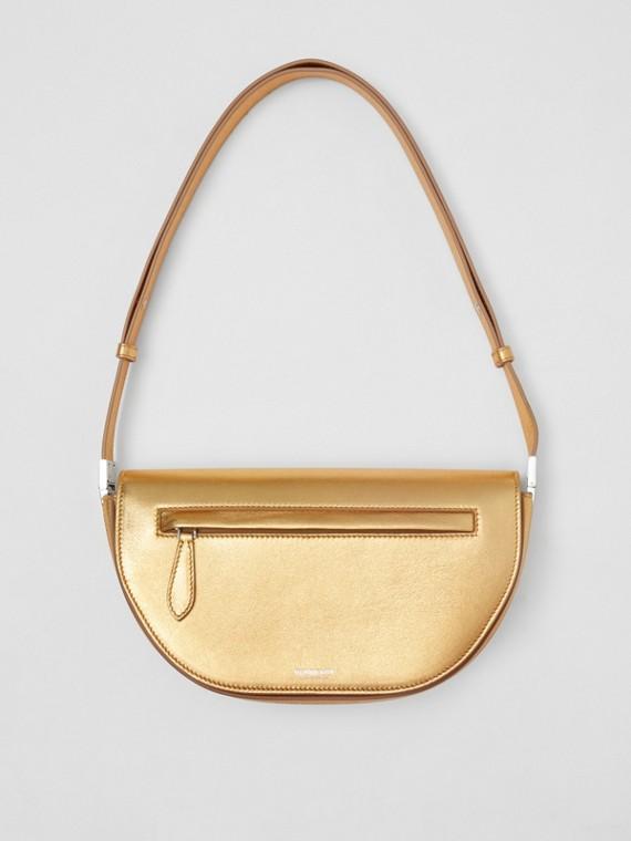 Small Metallic Lambskin Olympia Bag in Gold