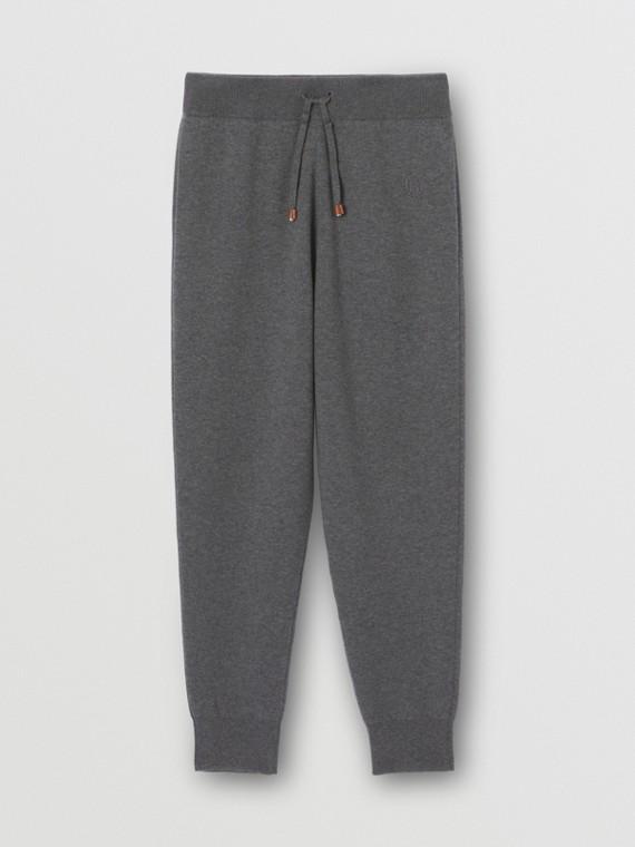 Pantaloni da jogging in misto cashmere con monogramma (Grigio Tempesta Mélange)