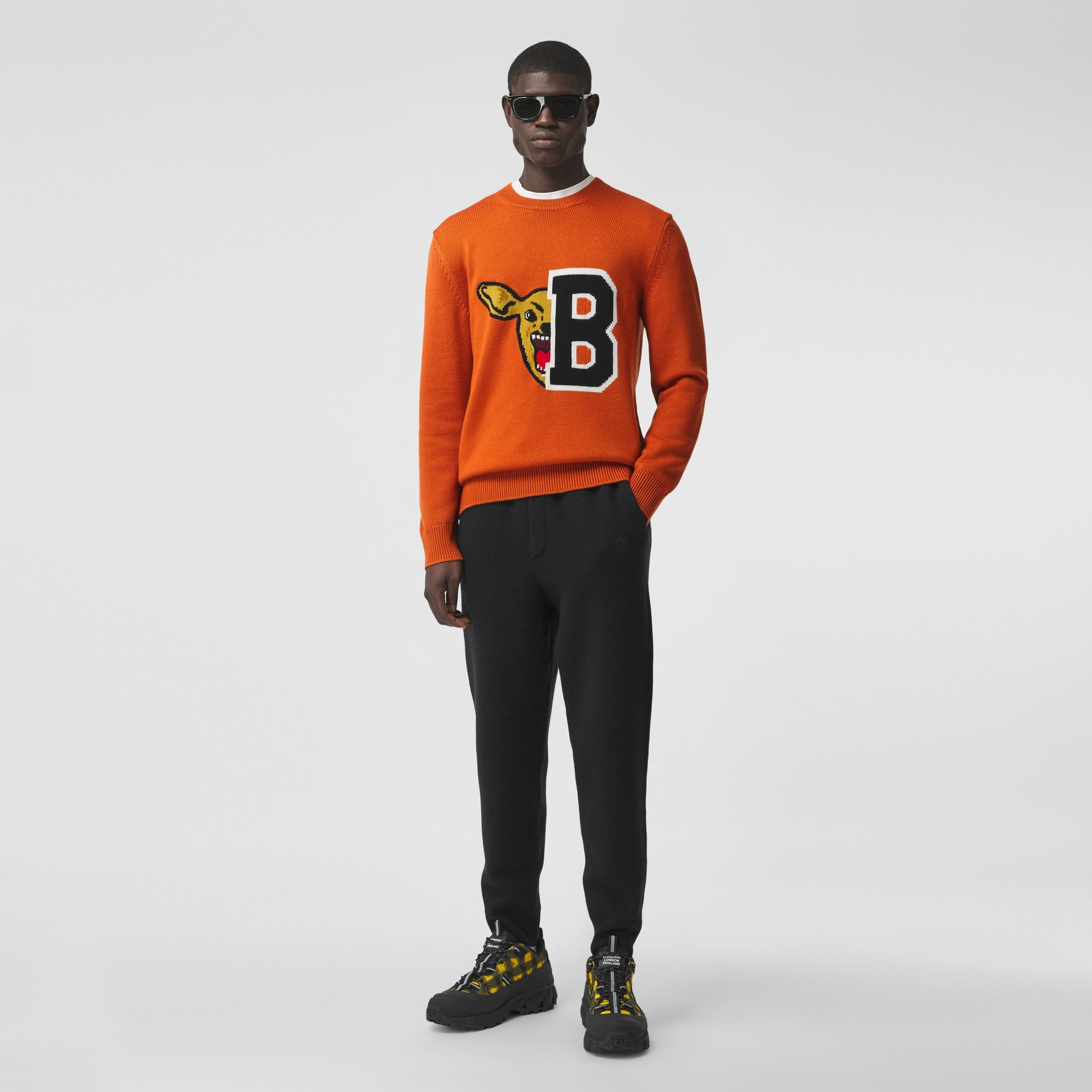 Varsity Graphic Merino Wool Jacquard Sweater in Burnt Orange - Men   Burberry - gallery image 4