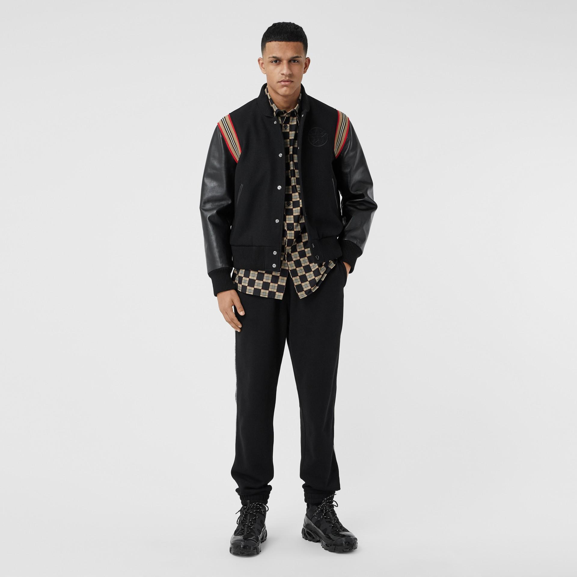 Icon Stripe Trim Wool Felt and Leather Bomber Jacket | Burberry United Kingdom - gallery image 0