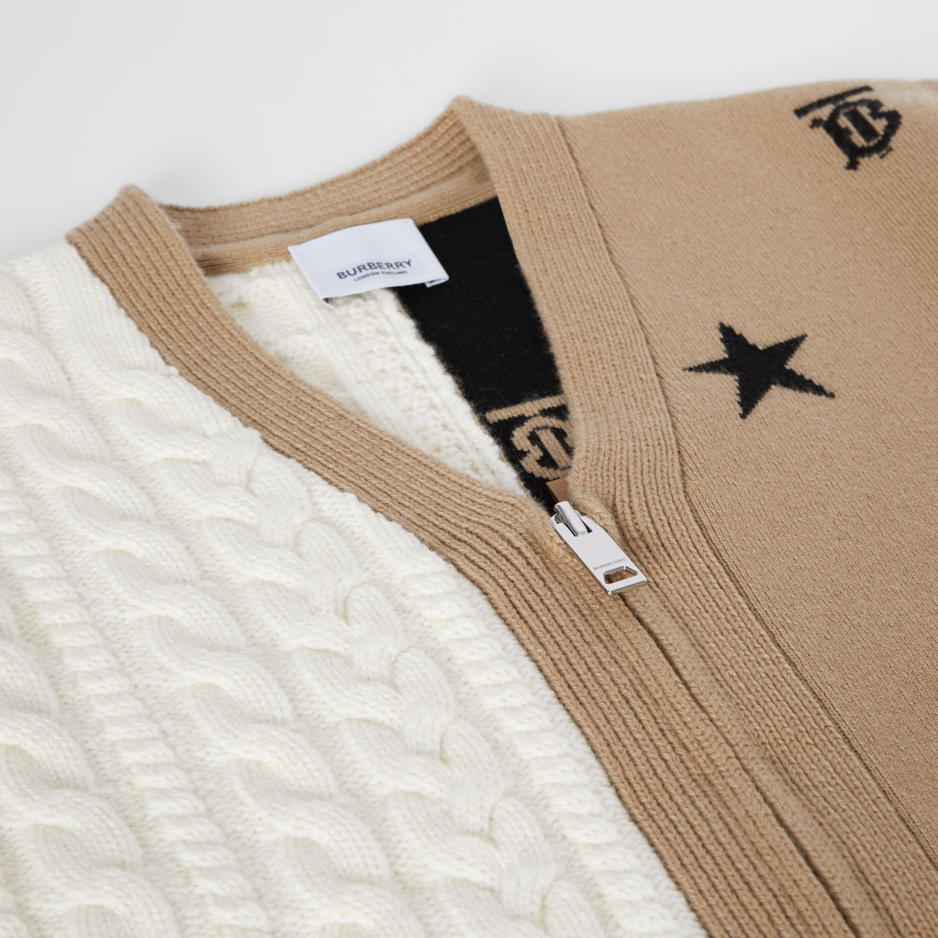 Star and Monogram Motif Wool Cashmere Cardigan in Archive Beige | Burberry - gallery image 1