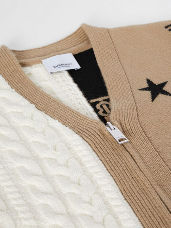 Star and Monogram Motif Wool Cashmere Cardigan in Archive Beige | Burberry - cell image 1