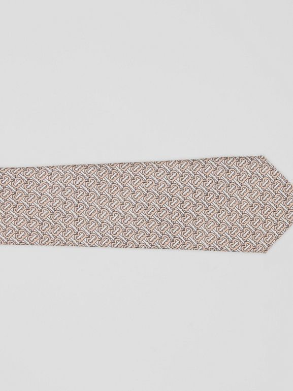 Classic Cut Monogram Silk Jacquard Tie in Blush Pink - Men | Burberry - cell image 1