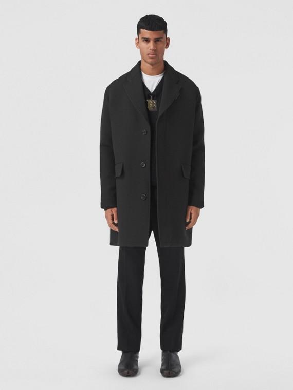 Wool Silk Coat in Black