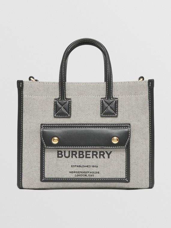 Mini Two-tone Canvas and Leather Freya Bag in Black