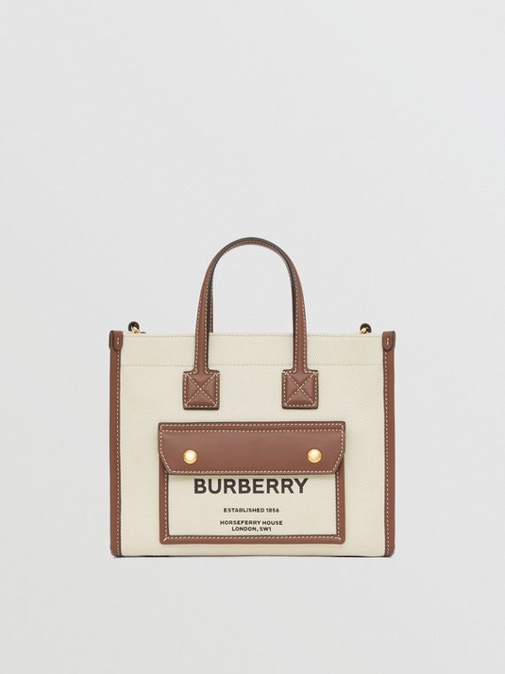 Mini Two-tone Canvas and Leather Freya Bag in Natural/tan