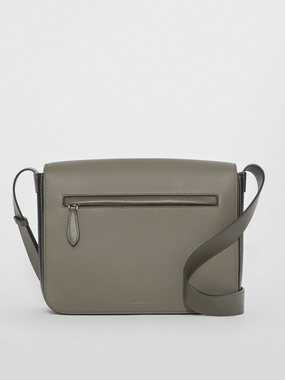 Small Grainy Leather Messenger Bag in Poplar Green