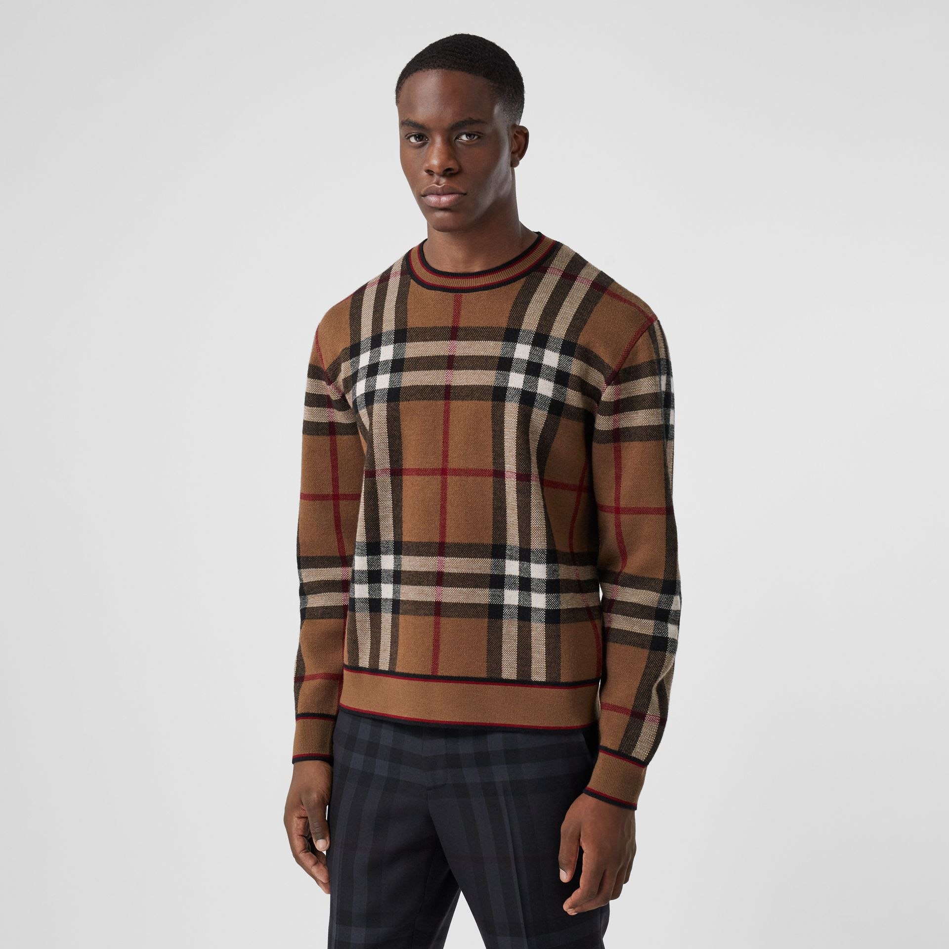 Check Merino Wool Jacquard Sweater in Birch Brown - Men | Burberry - gallery image 0