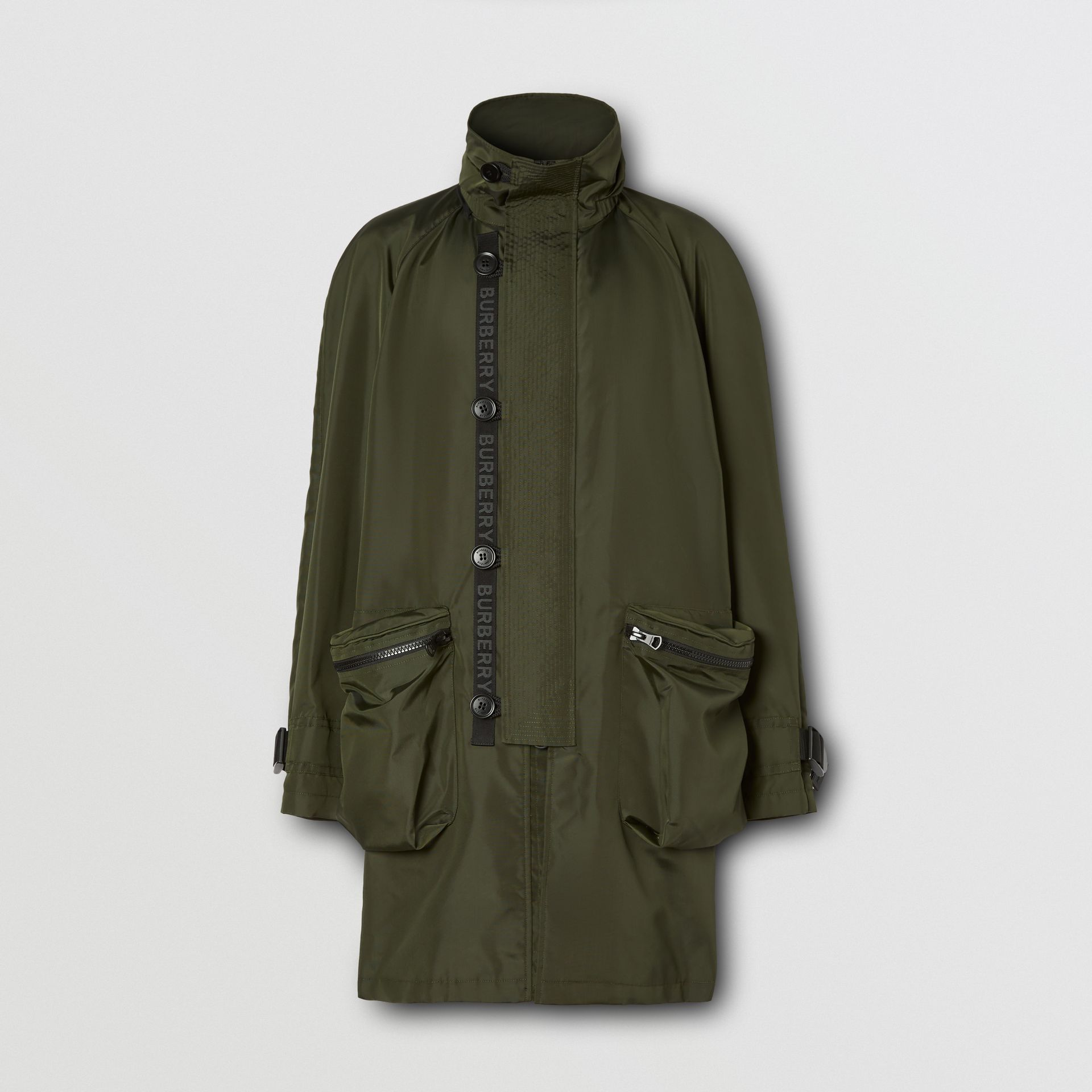 Packaway Hood Logo Tape Nylon Canvas Parka in Dark Olive - Men | Burberry - gallery image 3