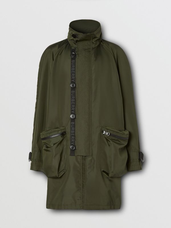 Packaway Hood Logo Tape Nylon Canvas Parka in Dark Olive - Men | Burberry - cell image 3